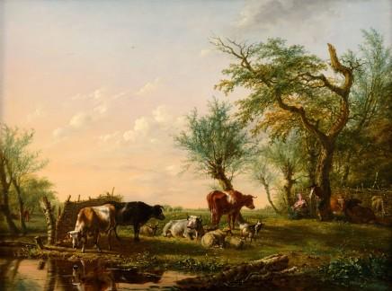 Jan Baptist Kobell, Cattle near a stream, ca. 1812