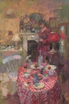 "Jacqueline Williams INTERIOR DUSK Oil on canvas 34"" x 23"""