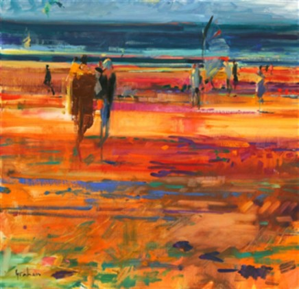 """Peter Graham Born 1959PROMENADE, LE TOUQUET Signed lower right Peter Graham Oil on canvas 25"""" x 26"""""""