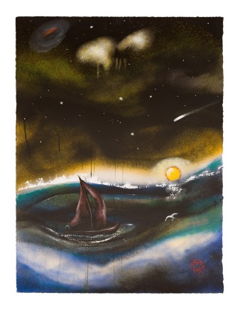 "Chris Gollon STORMY NIGHT Acrylic on paper 30"" x 22"""