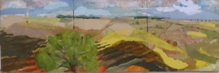 """Dorothy Dent DISTANT TREES Mixed Media 5"""" x 15"""" (Triptych)"""