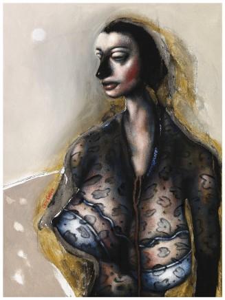 "Chris Gollon STUDY FOR WOMAN IN A BLACK DRESS Acrylic on canvas 24"" x 28"""