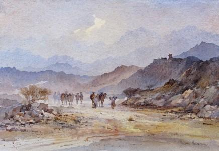 David Howell THE TRAIL NORTH FROM SA'DAH, YEMEN Watercolour