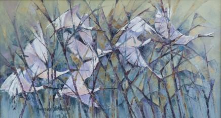 "Frederike Stokhuyzen Born 1938SPOONBILLS Oil on canvas 15"" X 27"""