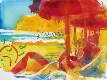 """Sophie Bartlett BURGAU BEACH V Watercolour 10"""" x 14"""""""