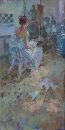 "Jacqueline Williams ROBIN READING Oil on canvas 24"" x 14"""
