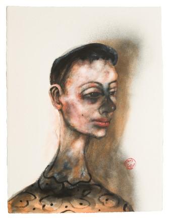 """Chris Gollon PORTRAIT OF A PARISIENNE Acrylic on paper 30"""" x 22"""""""