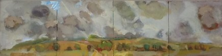 """Dorothy Dent SCUDDING ALONG Oil on board 5"""" x 20"""" (Double Diptych)"""