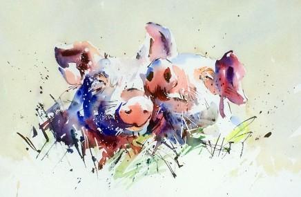 """Jake Winkle Born 1964HAPPY PIGS Signed: J Winkle Watercolour 19"""" x 28"""""""