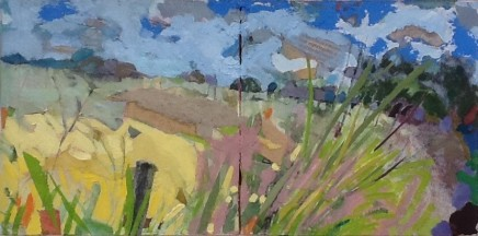 """Dorothy Dent WHERE THE NIGHTINGALE SINGS Mixed Media 6"""" x 12"""" (Diptych)"""