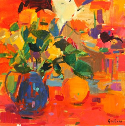 """Peter Graham ROSES WITH A JAPANESE BACKGROUND Oil on canvas 16"""" x 16"""""""