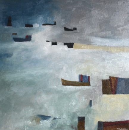 "Teresa Lawton THE SHIPPING LANE Oil on canvas 10"" x 10"""