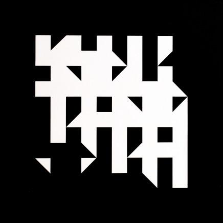 Kathleen Hyndman, Straight Line Rotation, White on Black.Forest, 1986
