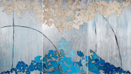 Poem for Earth (Version 2), 2018 - 2019 Mira Lehr Burned and dyed Japanese paper, ignited gunpowder silver emulsion on wood 84 x 144 inches (triptych) 213.4 x 365.8 cm