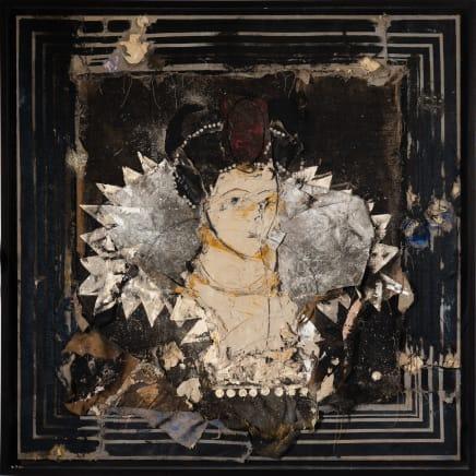 Reina con tocado rojo sobre fondo negro, 2016 Manolo Valdés Oil and collage on canvas 64 5/8 x 64 5/8 inches 164 x 164 cm