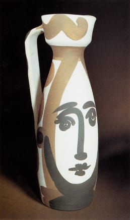 AR 288 - Visage (Face), 1955 Pablo Picasso White earthenware turned jug, painted in colours, with glaze on the inside 11 3/8 x 3 7/8 x 5 1/8 inches 28.9 x 9.8 x 13 cm