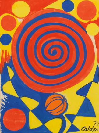 Spiral with Pumpkin, 1972 Alexander Calder Gouache on paper 30 1/2 x 22 3/4 inches (77.5 x 57.8 cm)