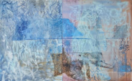 How well do you know dolphines?, 2017 Viktorie Langer Mixed media on canvas and textile 86 5/8 x 141 3/4 inches (diptych) 220 x 360 cm