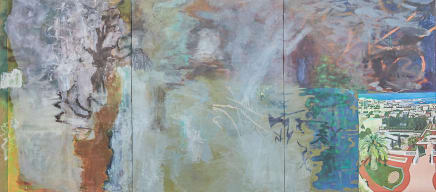 High-Fa, 2017 Viktorie Langer Mixed media on canvas and textile 86 5/8 x 192 7/8 inches (triptych) 220 x 490 cm