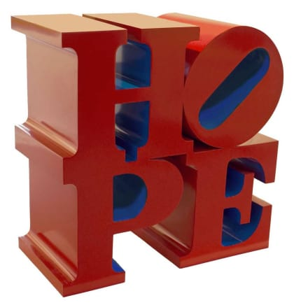 HOPE (Red/Blue), 2009 Robert Indiana Painted aluminum 36 x 36 x 18 inches (91.4 x 91.4 x 45.7 cm) Edition III/VIII