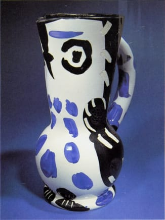 AR 293 - Cruchon Hiibou (Small owl jug), 1955 Pablo Picasso White earthenway clay, decoration in oxides and engraved by knife on white enamel, black, blue, brown 10.63 inches (27 cm) Height Edition of 500