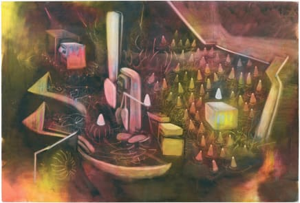 Vivre la mort, c. 1974 Roberto Matta Oil on canvas 78.39 x 114.61 inches (199.1 x 291.1 cm)