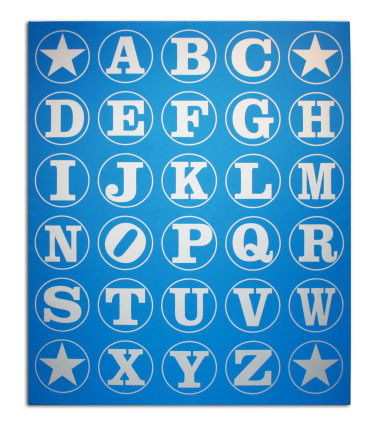 Alphabet Wall (Silver/Blue), 2011 Robert Indiana Silkscreen on canvas 29 3/4 x 24 x 2 inches (75.6 x 61 x 5.1 cm) Unique