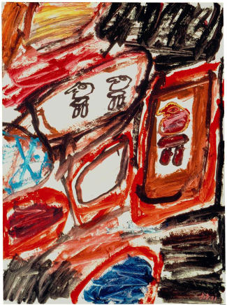 Site avec 3 personnages, September 2, 1981 Jean Dubuffet Acrylic on canvas-backed paper 26 1/2 x 19 1/2 inches (67.3 x 49.5 cm)