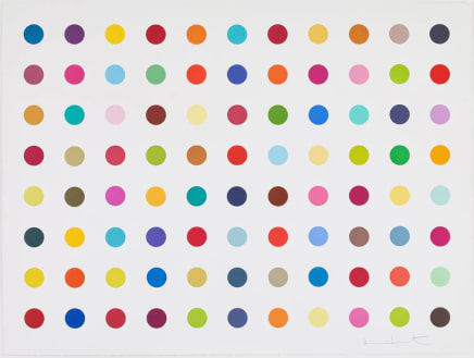 M-Fluorobenzoyl Chloride, 2018 Damien Hirst Woodcut spots 34 3/8 x 45 3/4 inches 87.3 x 116.2 cm Edition 24/55