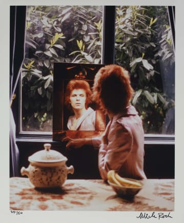 Bowie in Mirror, UK , 1972 Mick Rock Epson Premium Lustre archival quality fine art print 24 x 20 inches 61 x 50.8 cm Edition 34/50