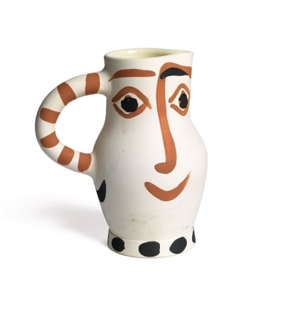 AR 437 - Four Faces, 1959 Pablo Picasso Terre de faience turned pitcher painted in brown and black, with interior glaze 9 1/4 inches (23.5 cm) Edition 214/300