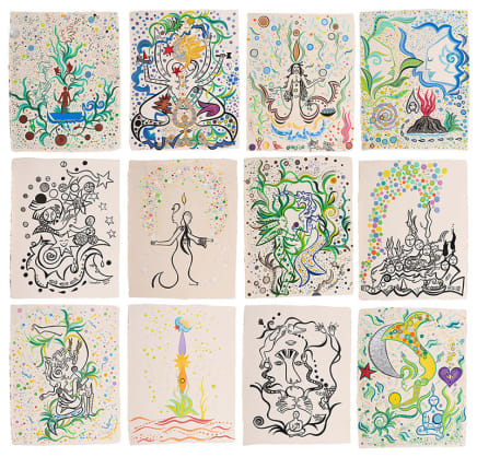 The Games, 2018 Federica Matta Mixed media on 12 handmade papers 26 x 20 7/8 inches / each 66 x 53 cm