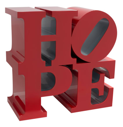 HOPE (Red/Silver), 2009  Robert Indiana  Painted aluminum  18 x 18 x 9 inches  45.7 x 45.7 x 22.9 cm  Edition VII/IX