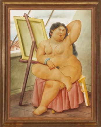 The Model, Executed in 2002 Fernando Botero Watercolor and graphite on paper 41 x 32 inches (104.1 x 81.3 cm)