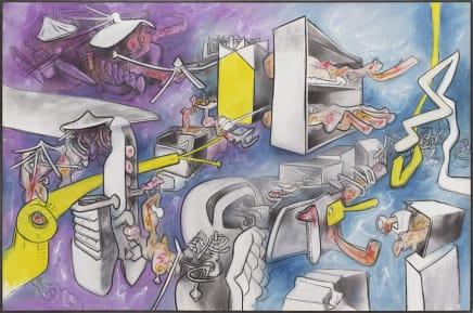 Flux de psycho-espace, 1973 Roberto Matta Oil on canvas 78 3/4 x 118 1/4 inches 200 x 300.4 cm