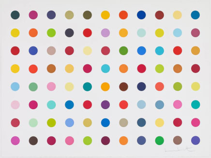 M-Flurobenzylamine, 2018 Damien Hirst Woodcut spots 34 3/8 x 45 3/4 inches 87.3 x 116.2 cm Edition 24/55