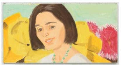 Vivien with Flowers, 2001 Alex Katz Oil on board 8 1/4 x 15 3/4 inches 21 x 40 cm