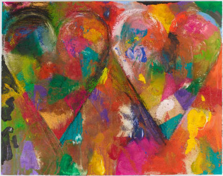Two bells in the sand, 2014 Jim Dine Acrylic and sand on heavy linen 48 1/4 x 61 1/4 inches (122.6 x 155.6 cm)