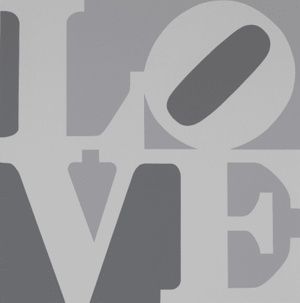Book of Love (From a Portfolio of 12 silkscreen prints and 12 Poems) White/Black/Gray, 1996 Robert Indiana Silkscreen 24 x 20 inches (61 x 50.8 cm) Edition 179/200
