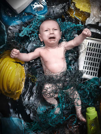 Plastic Ocean Kids—Lorenz, 2019 Andreas Franke White opaque acrylic back and clear acrylic front 55 1/8 x 41 3/8 inches 140 x 105 cm