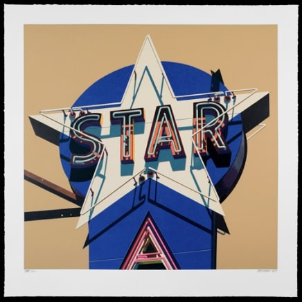 Star Suite, Star, 2009 Robert Cottingham Silkscreen on paper 32 x 31 3/4 inches (81.3 x 80.6 cm) Edition HC 10/10