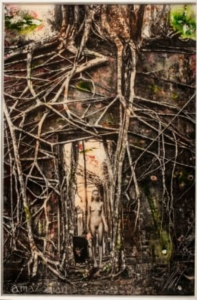 Simone in the Tree Raphael Mazzucco Archival print and mixed media encased in resin 60 x 40 inches (152.4 x 101.6 cm)