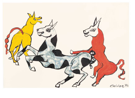 Rire jaune, 1976 Alexander Calder Gouache and ink on paper 29 3/8 x 43 1/8 inches 74.6 x 109.5 cm