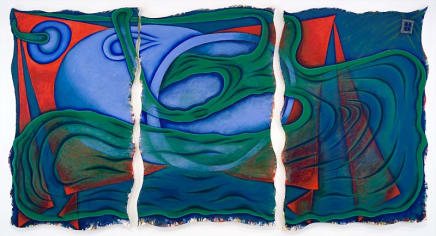 Red Corner, 1999 Elizabeth Murray Oil on three canvases 80 x 148 inches (203.2 x 375.9 cm)