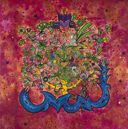 L'Arbre des Anciens, 2001 Federica Matta Mixed media on canvas 59 1/8 x 59 1/8 inches 150 x 150 cm