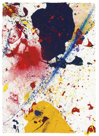 Untitled, 1989 Sam Francis Acrylic on paper 42 1/2 x 29 3/4 inches 108 x 75.6 cm
