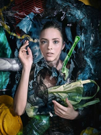 Plastic Ocean—Melanie, 2018 Andreas Franke White opaque acrylic back and clear acrylic front 55 1/8 x 41 3/8 inches 140 x 105 cm
