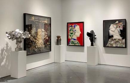 Ada Cabeza con Flores Plateadas, Reina con tocado rojo sobre fondo negro, Helechos, Perfil V, Juno 1 and Perfil III by Manolo Valdés.