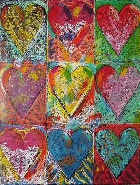 "Jim Dine ""The Big Wall of Hearts"""