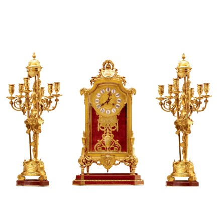 Ferdinand Barbedienne, A gilt-bronze three-piece clock garniture, Napoleon III period